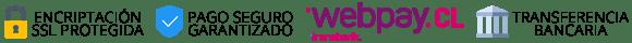 Formas de pago: webpay.cl y transferencia bancaria