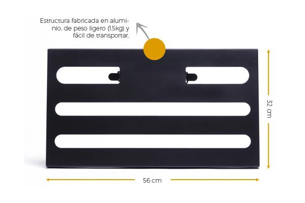 estructura fabricada en aluminio, de peso ligero y fácil de transportar